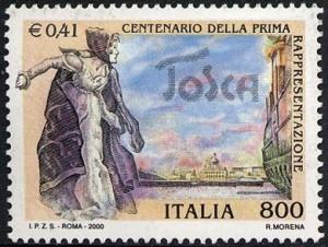 14 gennaio francobollo 2000 Tosca