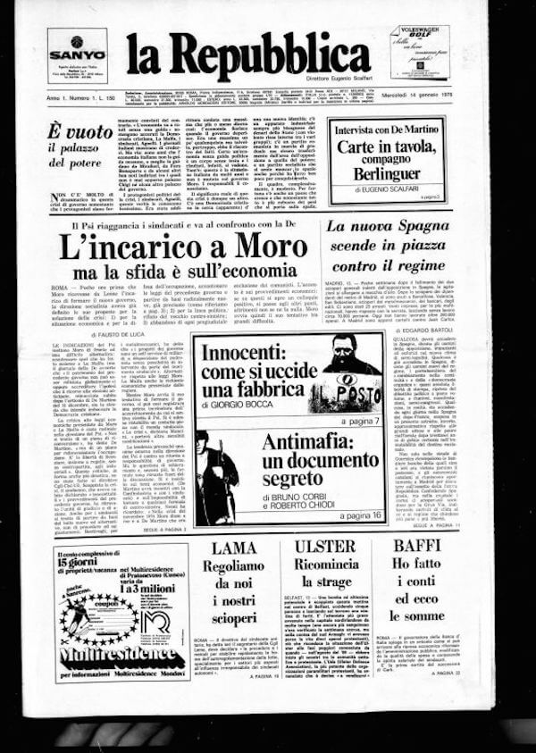 14 gennaio 1° num. La Repubblica 1976